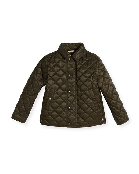 Burberry Luke Quilted Snap-Front Jacket, Olive, Size 4-14