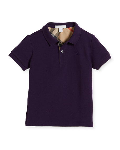 Burberry Boys' Cotton Polo, Purple, Size 4-14