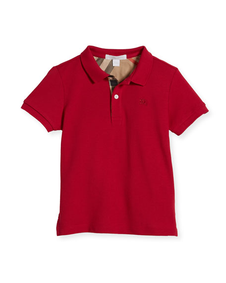 Boys' Cotton Polo, Pink, Size 4-14