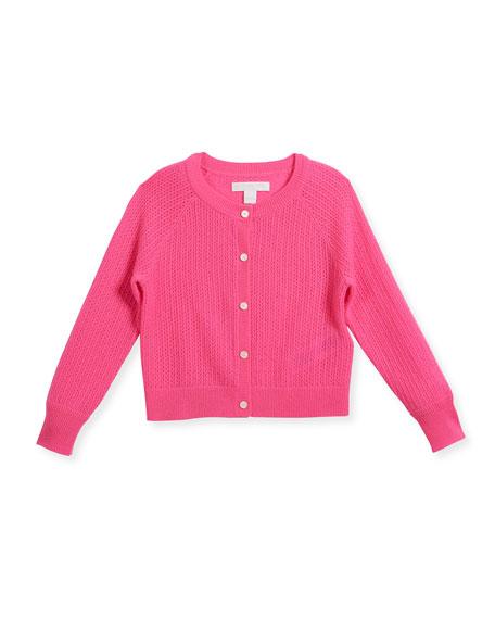 Flissey Cashmere Knit Cardigan, Pink, Size 4-14