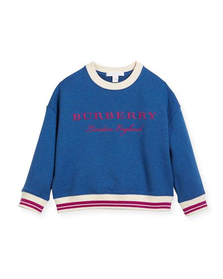 Burberry Eli Logo Sweatshirt, Blue, Size 4-14