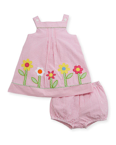 Striped Seersucker Flower-Border Dress w/ Bloomers, Size 3-24 Months