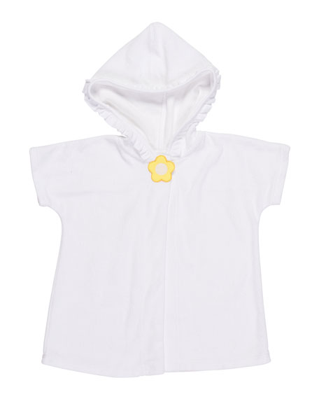 Knitted Terry Cloth Hooded Swim Coverup, White/Yellow, Size 6-24 Months