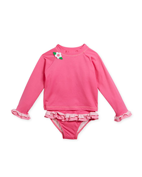 Two-Piece Flower Ruffle Rashgaurd Swimsuit, Size 2-6X