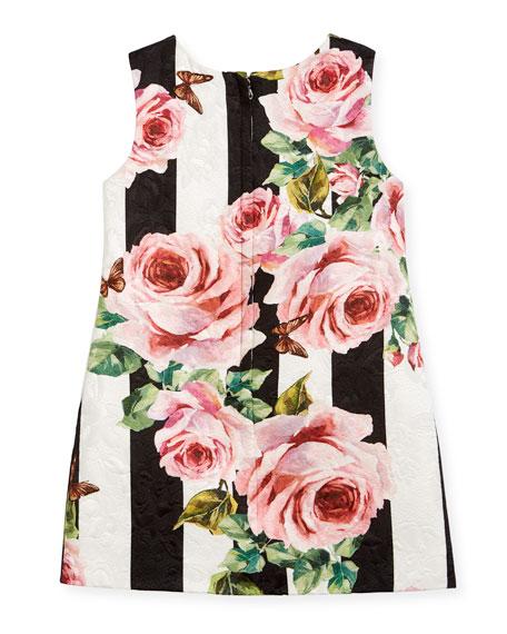 Striped Rose Brocade Dress, Size 8-12