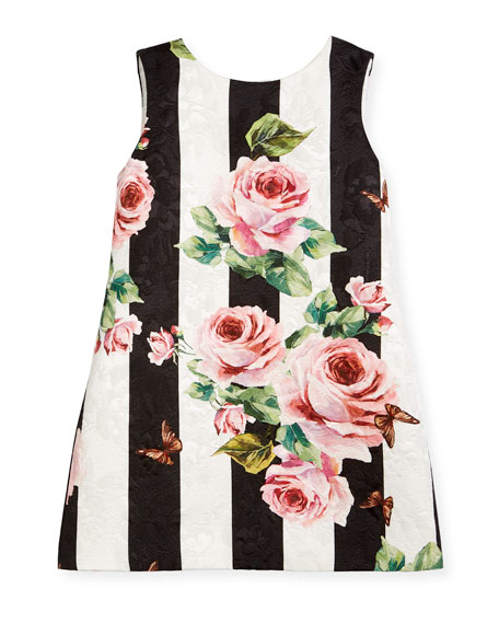 Dolce & Gabbana Striped Rose Brocade Dress, Size