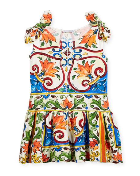 Dolce & Gabbana Maiolica-Print Jersey Dress, Size 4-6