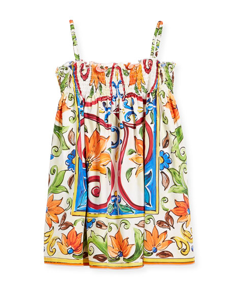 Dolce & Gabbana Maiolica-Print Smocked Sundress, Size 8-12