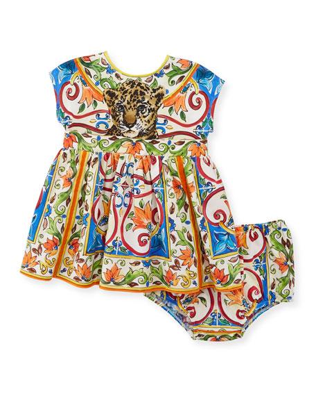 Dolce & Gabbana Maiolica & Leopard-Print Poplin-Jersey Dress
