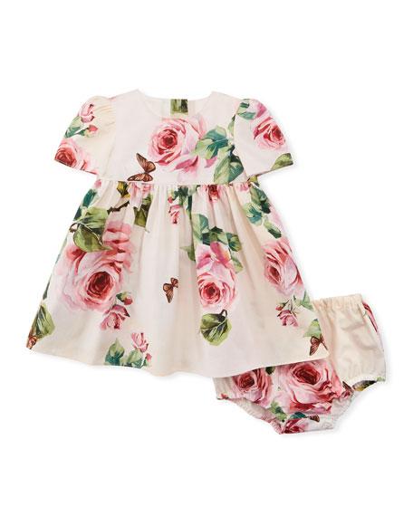 Dolce & Gabbana Floral-Print Poplin Dress w/ Bloomers,