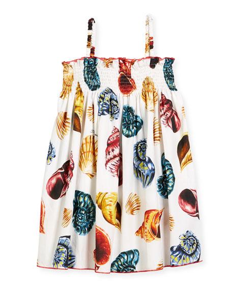 Dolce & Gabbana Shell-Print Smocked Poplin Sundress, Size