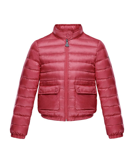 Lans Flap-Pocket Lightweight Down Puffer Jacket, Dark Pink, Size 4-6