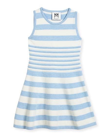 Striped Knit Flare Dress, Navy/White, Size 8-14