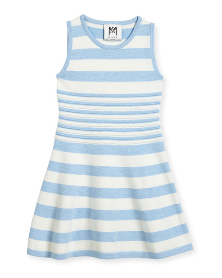 Milly Minis Striped Knit Flare Dress, Blue/White, Size