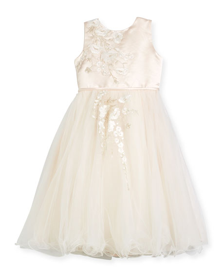 Satin & Tulle Special Occasion Dress w/ Floral Embroidery, Ivory, Size 4-14