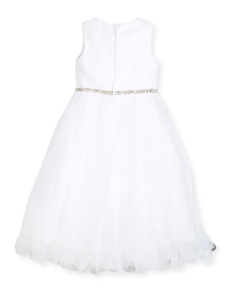 Shirred-Top Special Occasion Dress w/ Tulle Skirt, White, Size 4-14
