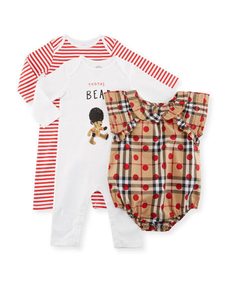 Burberry Girls' Thomas Bear Layette Set, Size 3-9