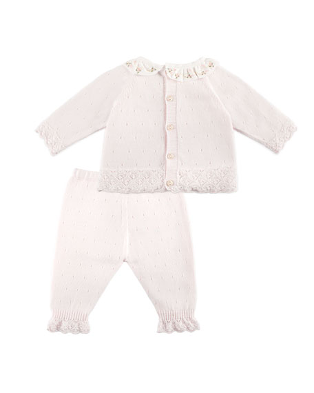 Ruffle-Collar Sweater w/ Matching Leggings, Pink, Size 1-6 Months