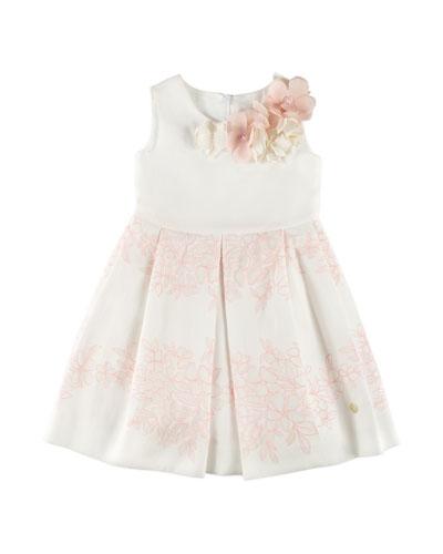 Sleeveless Floral Dress, White, Size 4-10