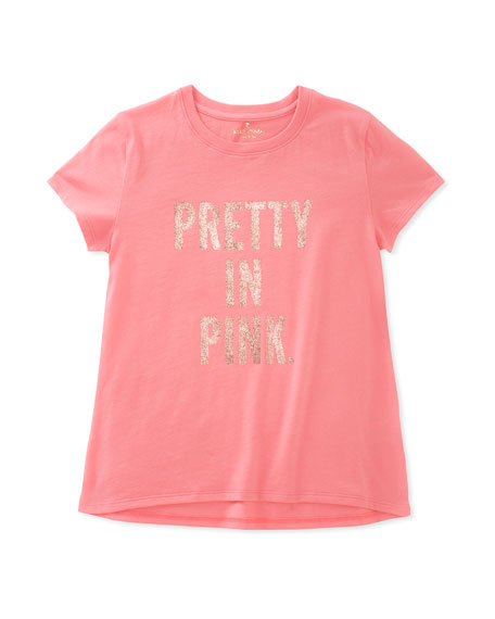 pretty in pink cotton swing tee, size 7-14