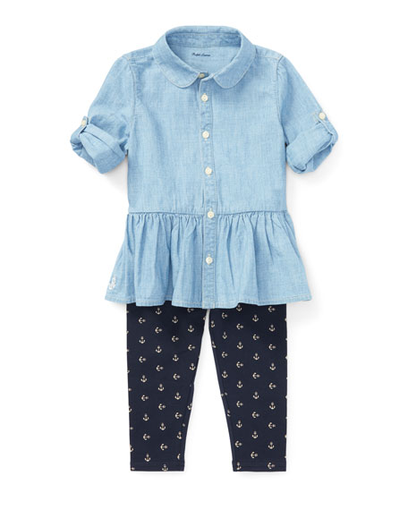 Ralph Lauren Childrenswear Chambray Button-Down Top w/ Anchor