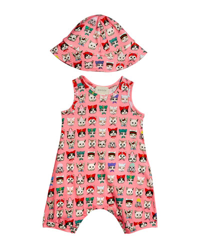 Printed Cat Romper w/ Matching Hat, Size 3-18 Months
