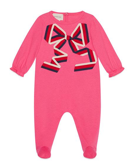 Gucci Sylvie Web Bow Footie Pajamas, Size 0-9