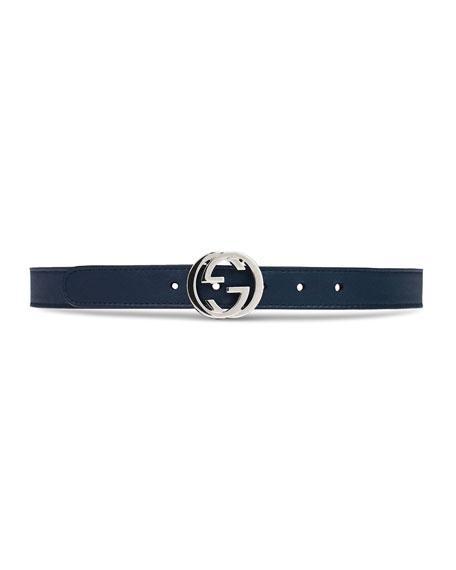 Gucci Kids' Leather Belt w/ Interlocking G Buckle