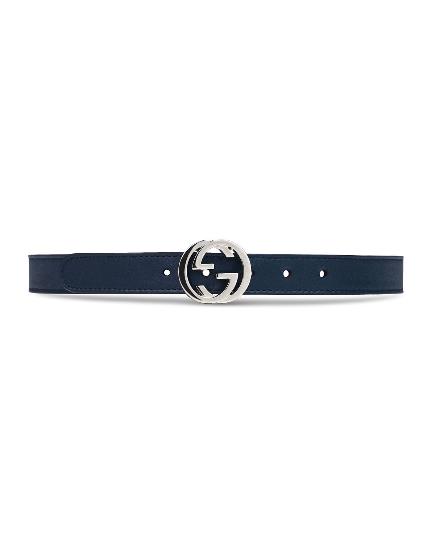 6aa56226c26 Gucci Kids  Leather Belt w  Interlocking G Buckle
