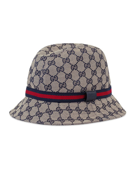 gucci kids 39 gg supreme canvas bucket hat w web hat band. Black Bedroom Furniture Sets. Home Design Ideas