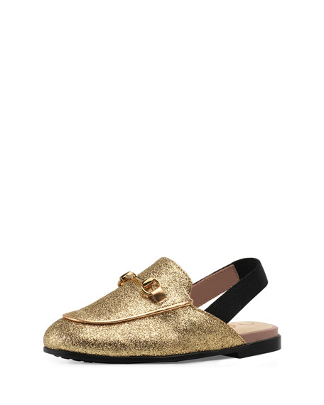 Gucci Princetown Glittered Horsebit Mule Slide, Toddler Sizes