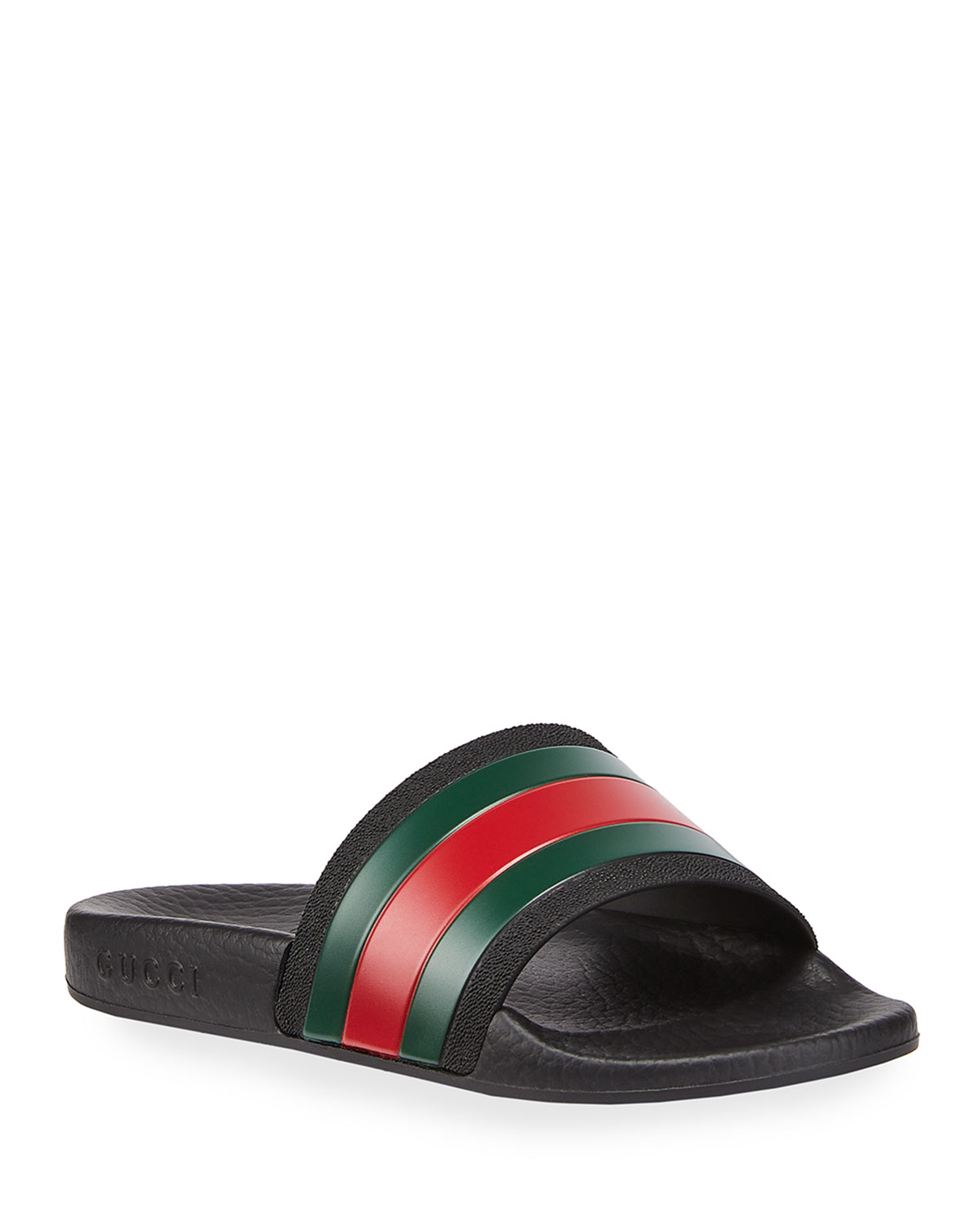 f6cdcd7a2be2 Gucci Pursuit Web Rubber Slide Sandal