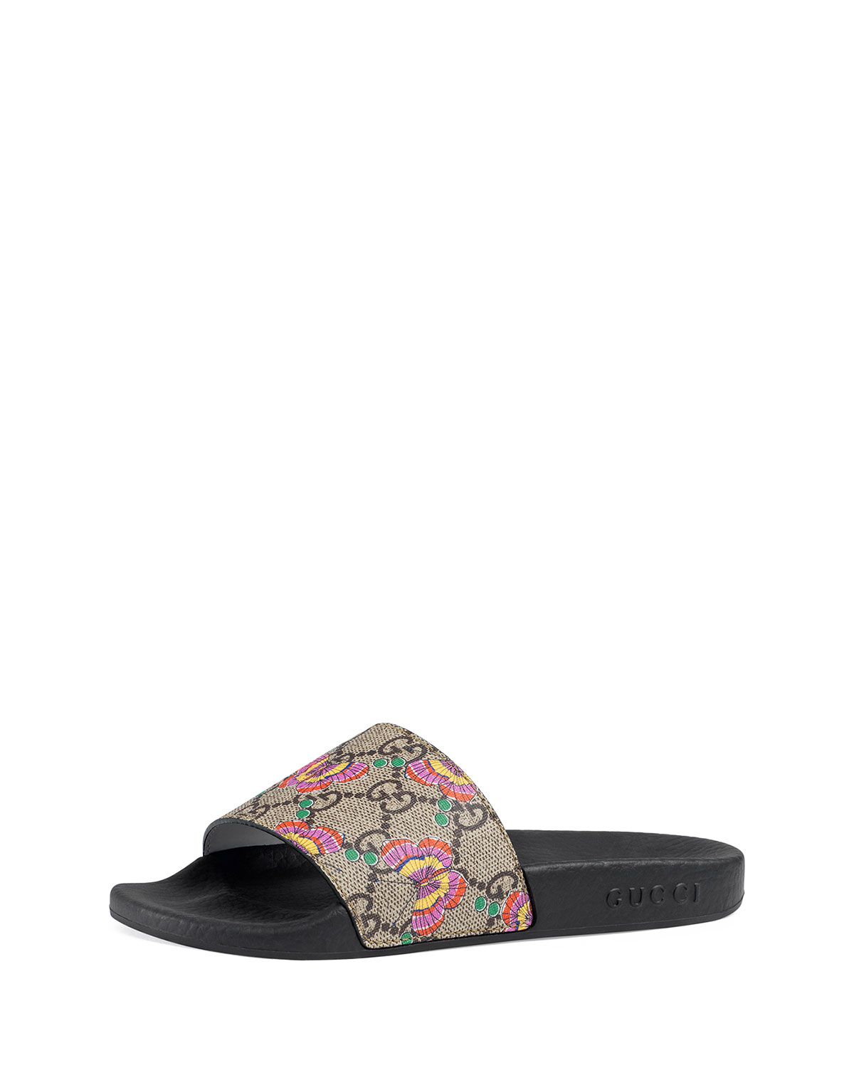 3f87aeef3 Gucci Pursuit Butterfly-Print GG Supreme Slide Sandals