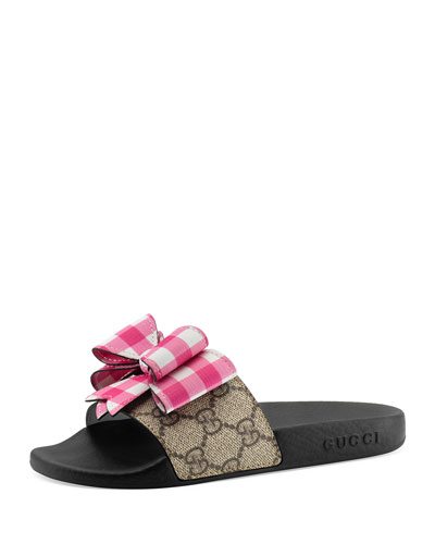 Pursuit GG Supreme Slide Sandal w/ Bow, Kids' Sizes 10T-2Y