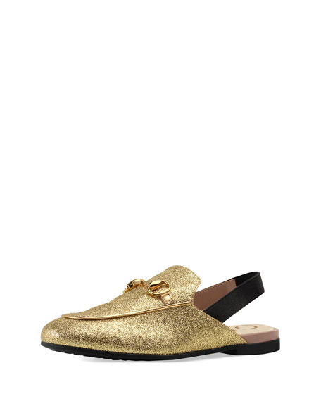 Gucci Princetown Glittered Horsebit Mule Slide, Toddler/Youth