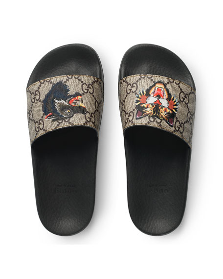 Pursuit Angry Cat & Wolf GG Supreme Canvas Slide Sandals, Toddler/Youth Sizes 10T-2Y