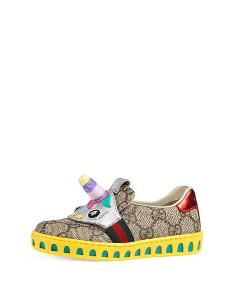 Gucci GG Supreme Canvas Sneaker w/ Unicorn, Toddler