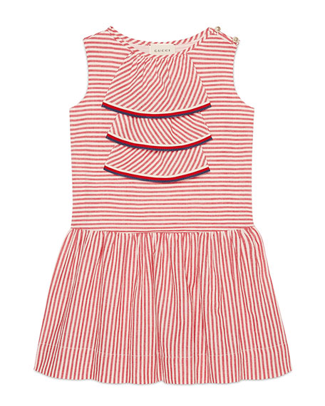 Sleeveless Striped Dress w/ Web Trim, Size 4-12