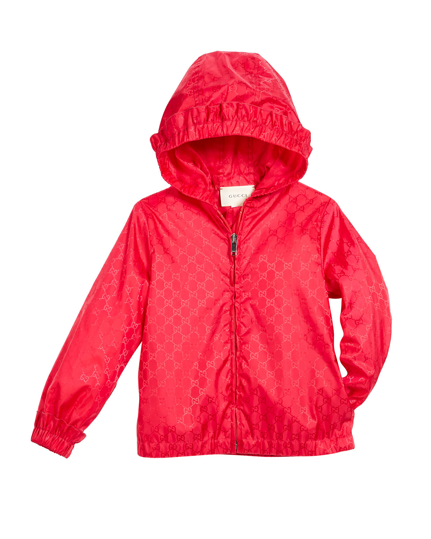 35259efd2 Gucci GG Jacquard Nylon Zip-Front Jacket w/ Hood, Size 4-12 | Neiman ...
