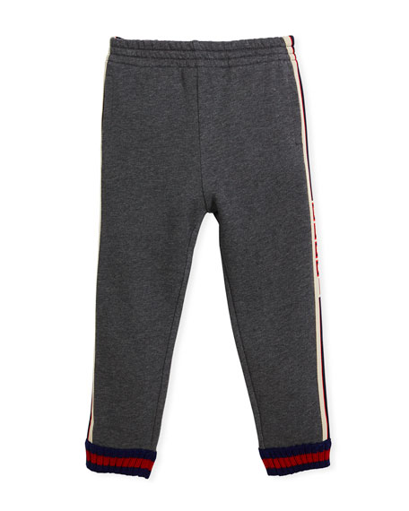 Gucci Logo Jacquard Side Jogger Pants w/ Web Knit Cuffs, Size 4-12