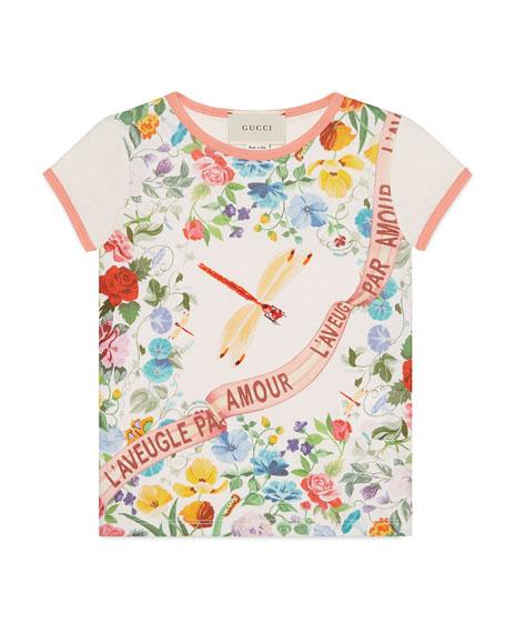 Short-Sleeve Floral Garden-Print T-Shirt, Size 4-12