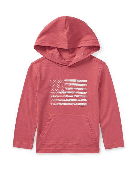 Ralph Lauren Childrenswear American Flag Jersey Hoodie, Red,