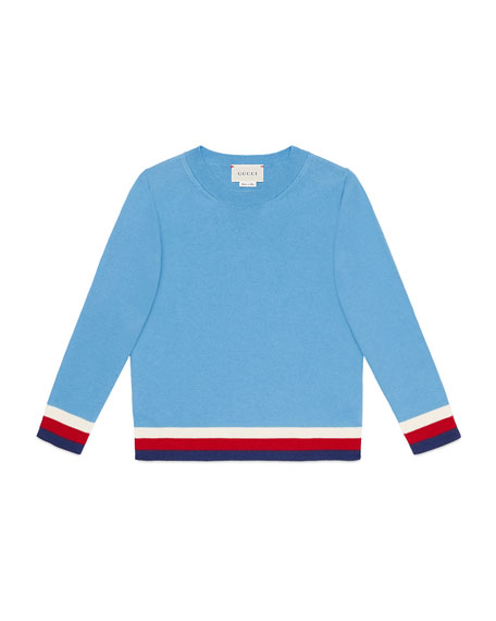 Gucci Giza Crewneck Sweater w/ Stripe Trim, Size
