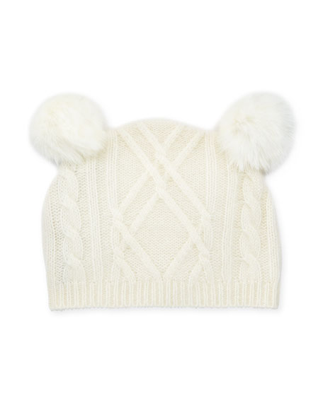 Sofia Cashmere Cable-Knit Beanie Hat w/ Double-Pompoms