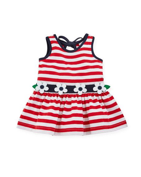 Florence Eiseman Stripe Knit Sleeveless Dress w/ Flower
