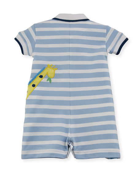 Stripe Knit Pique Polo Shortall w/ Giraffe Embroidery, Size 3-18 Months