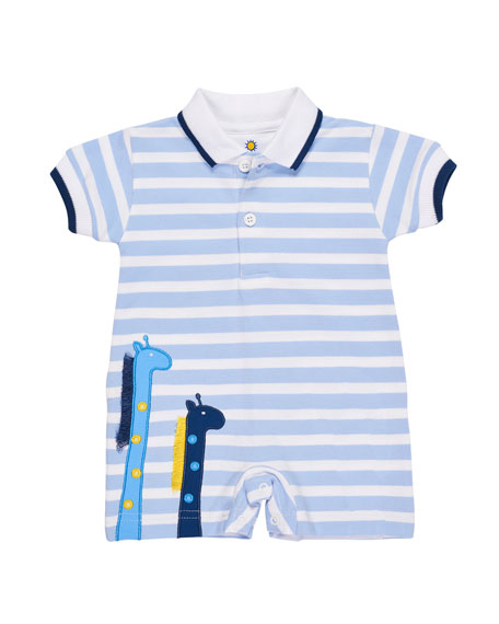 Florence Eiseman Stripe Knit Pique Polo Shortall w/