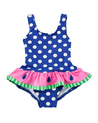 Polka-Dot One-Piece Swimsuit w/ Watermelon Ruffle, Size 2-6X