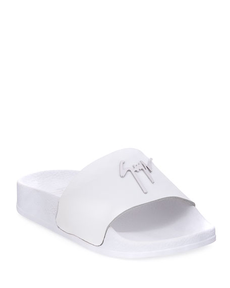 Giuseppe Zanotti Birel Leather Slide Sandal, White, Toddler/Youth