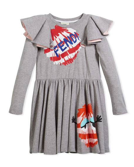 Long-Sleeve Ruffle Jersey Dress w/ Monster Pompom Graphic, Size 3-5